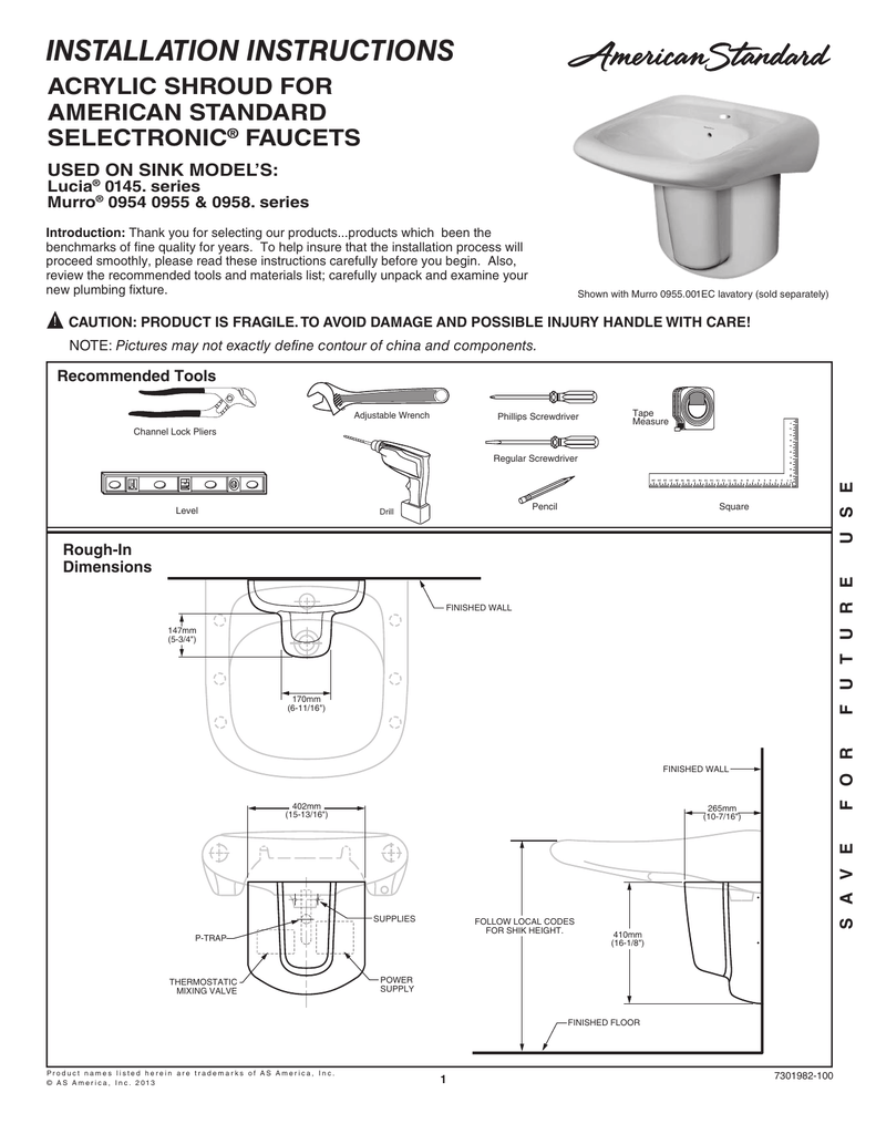 hight resolution of installation instructions acrylic shroud for american standard selectronic