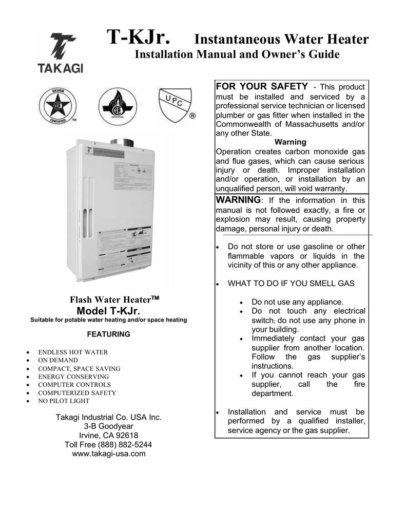Takagi Tankless Water Heater Reset Button : takagi, tankless, water, heater, reset, button, Takagi, Tk-Jr., Manualzz