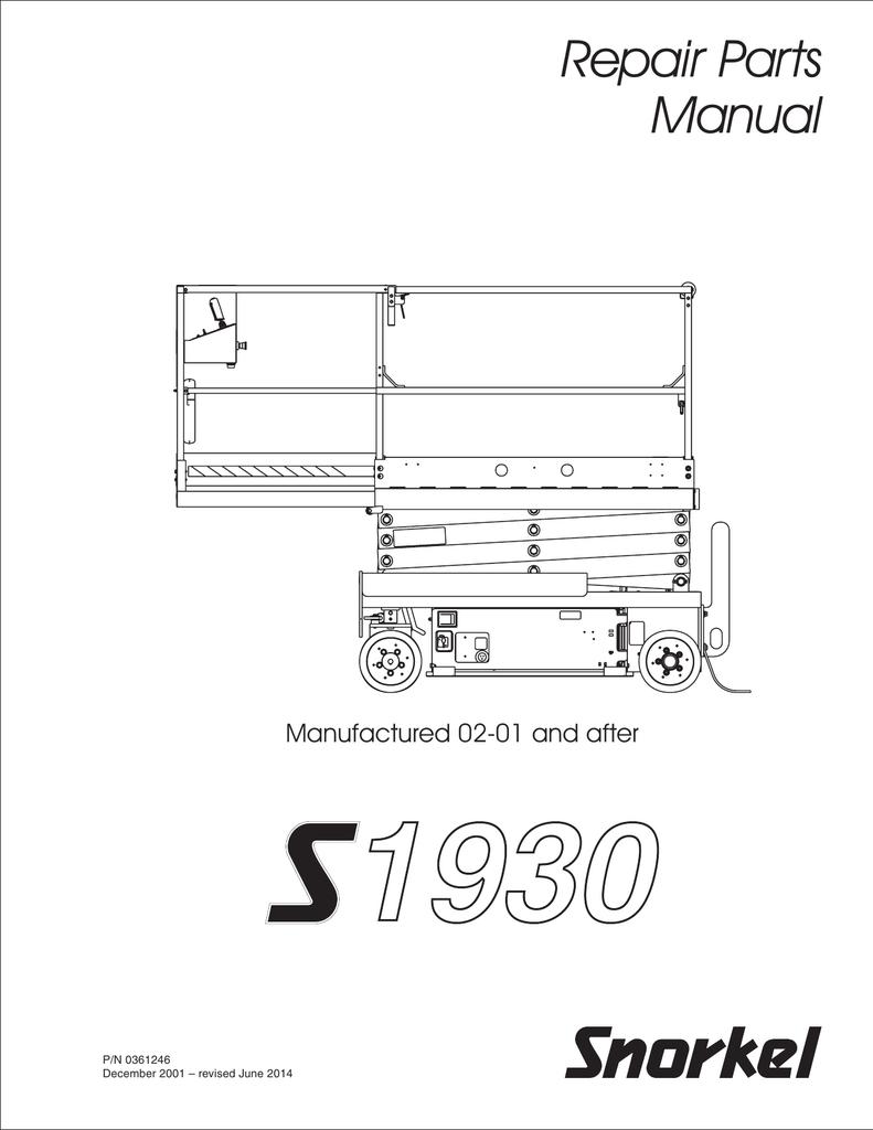 Repair Parts Manual Manufactured 02-01 and after P/N