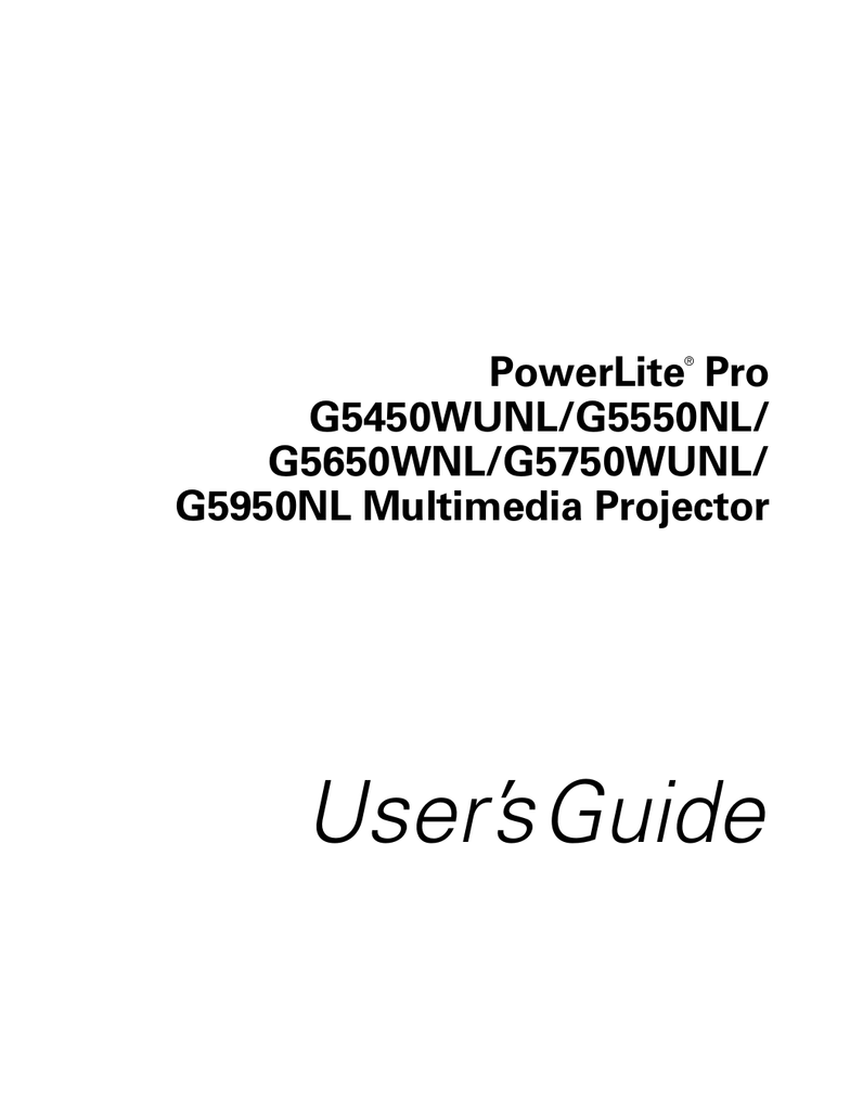 [EBOOK-1178] Epson Pro G5950nl Projectors Owners Manual