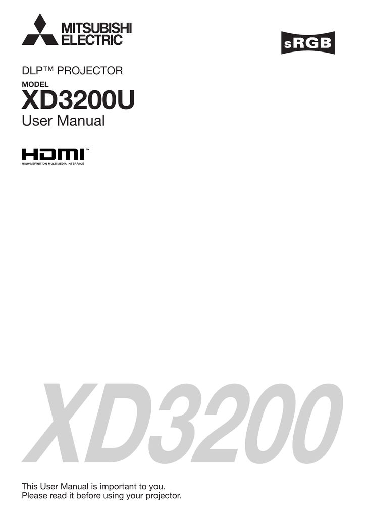 Mitsubishi Electric XD3200U Projector User Guide