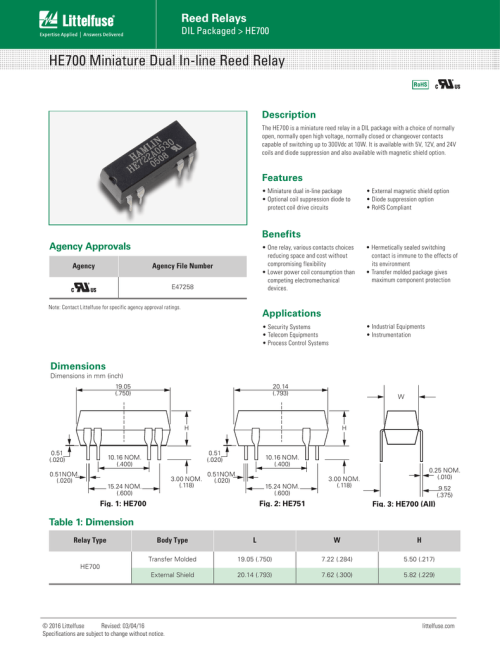 small resolution of he700 miniature dual in line reed relay reed relays description dil packaged gt he700