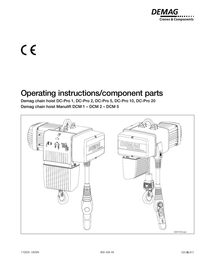 medium resolution of electricchainhoist dc pro and manualzz com demag dc pro 1 125 hoist wiring diagram
