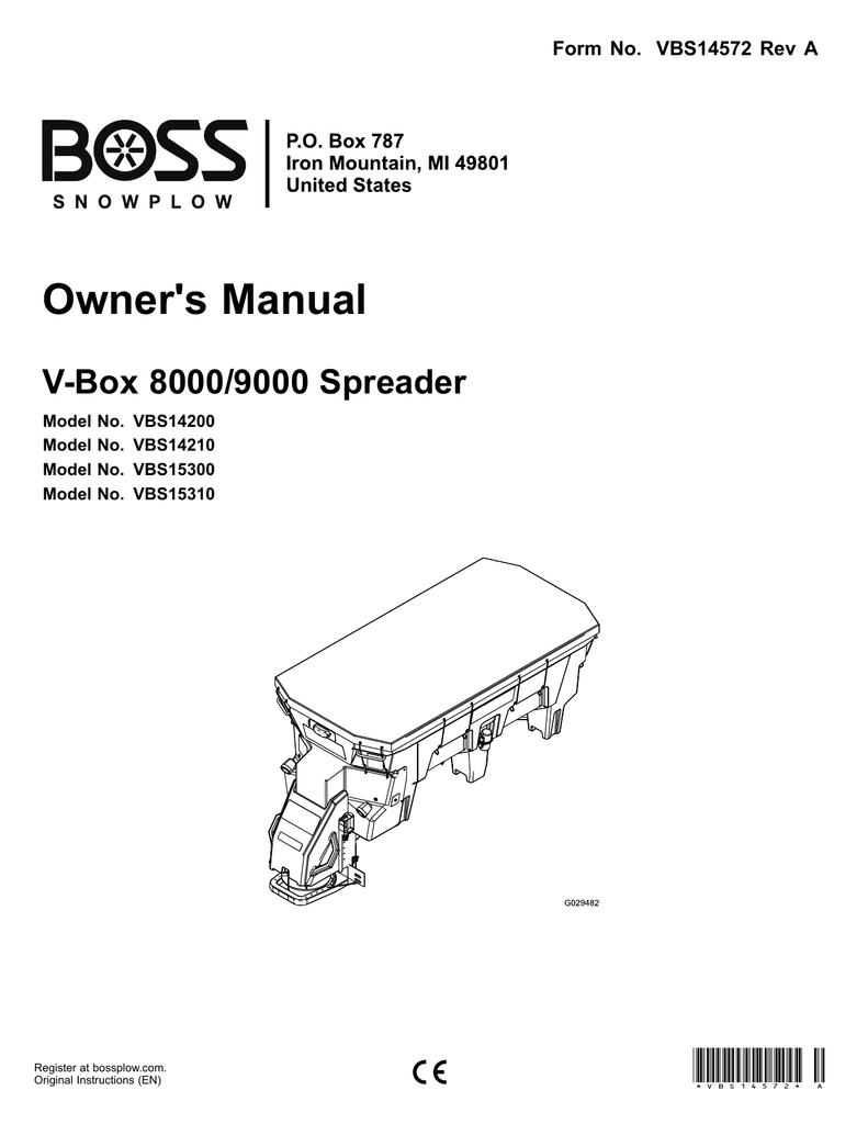 VBX 8000 VBX 9000 V-Box Spreader Installation and Owner's
