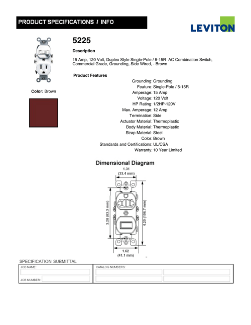 small resolution of  leviton 5225 spec sheet manualzz com on outlet wiring diagram double pole switch