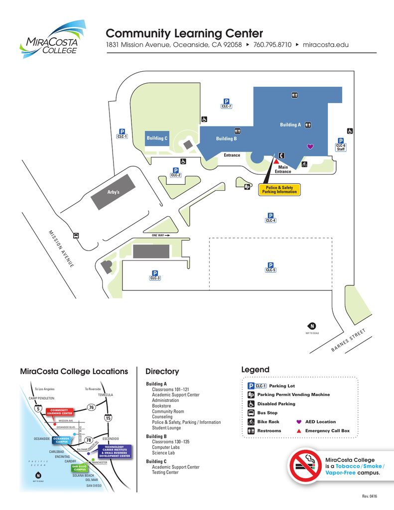 Mira Costa College Map : costa, college, Community, Learning, Center, Legend, Directory, MiraCosta, College, Locations, Manualzz