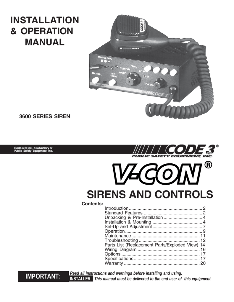 hight resolution of sirens and controls installation amp operation manual