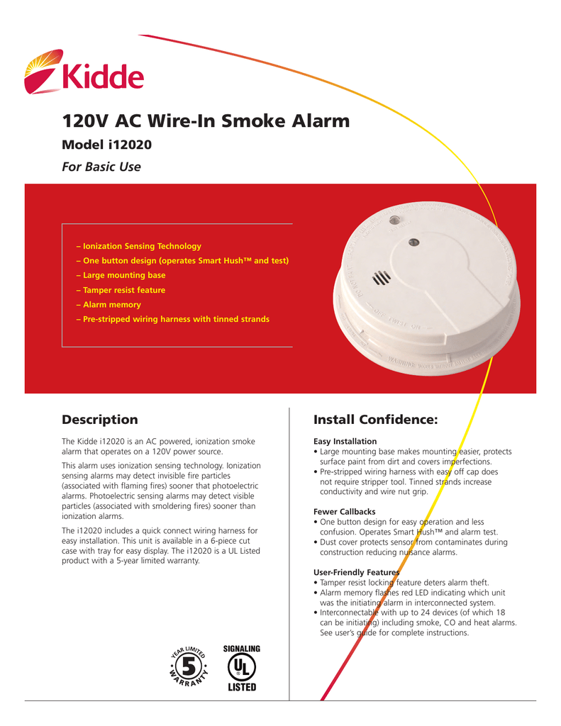 hight resolution of 120v ac wire in smoke alarm model i12020 for basic use