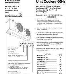 slim line kuc unit coolers 60hz product data amp installation [ 791 x 1024 Pixel ]