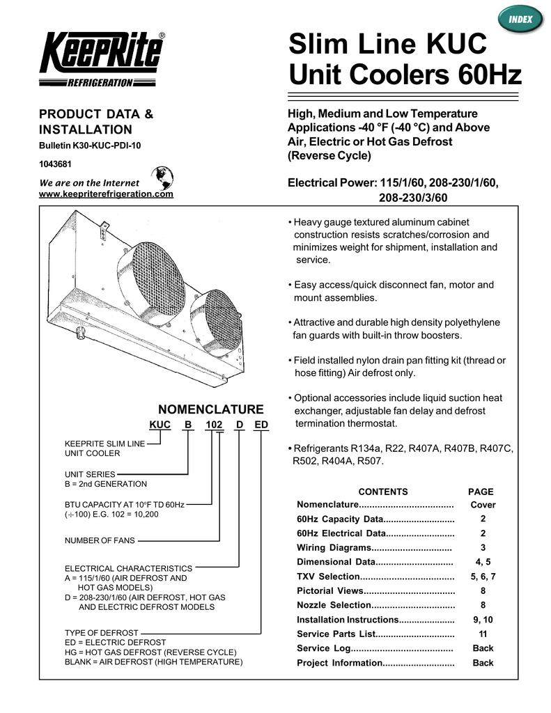 medium resolution of slim line kuc unit coolers 60hz product data amp installation
