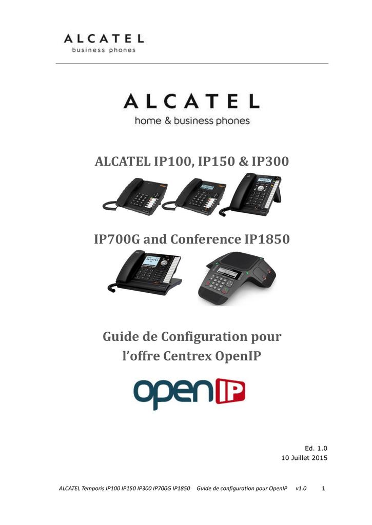 Configuration des postes Alcatel IP100, IP150, 1P300