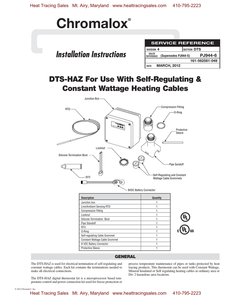 Chromalox Installation Instructions DTS-HAZ For Use With