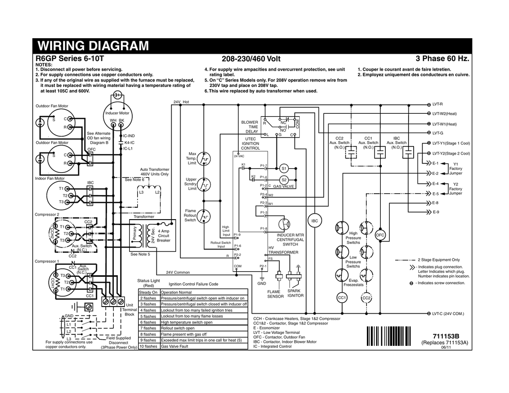 hight resolution of wiring diagram 3 phase 60 hz r6gp series 6 10t 208 230 460 volt manualzz com