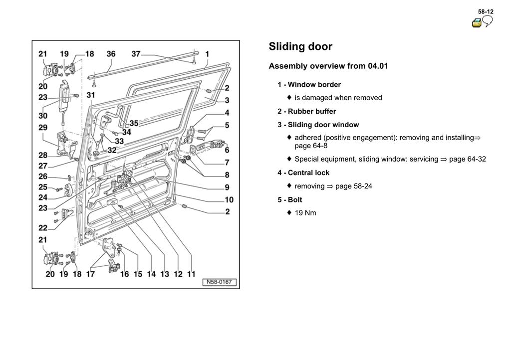 Volkswagen EuroVan (T4): Sliding door (from 04.01) (eng