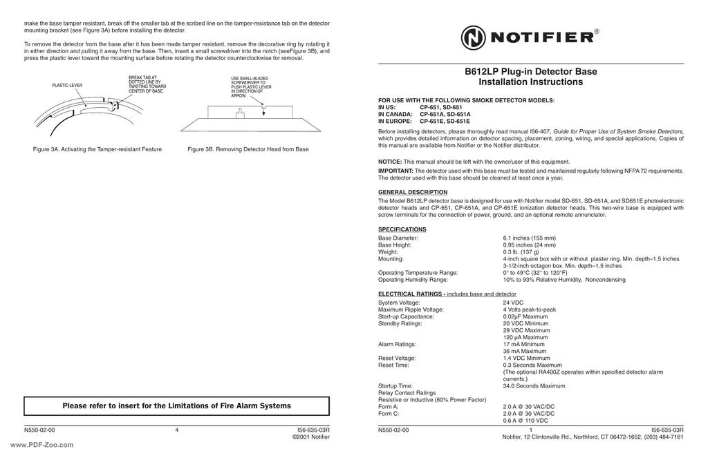 notifier duct detector wiring diagram nissan 240sx fuel pump b612lp installation instructions manualzz com