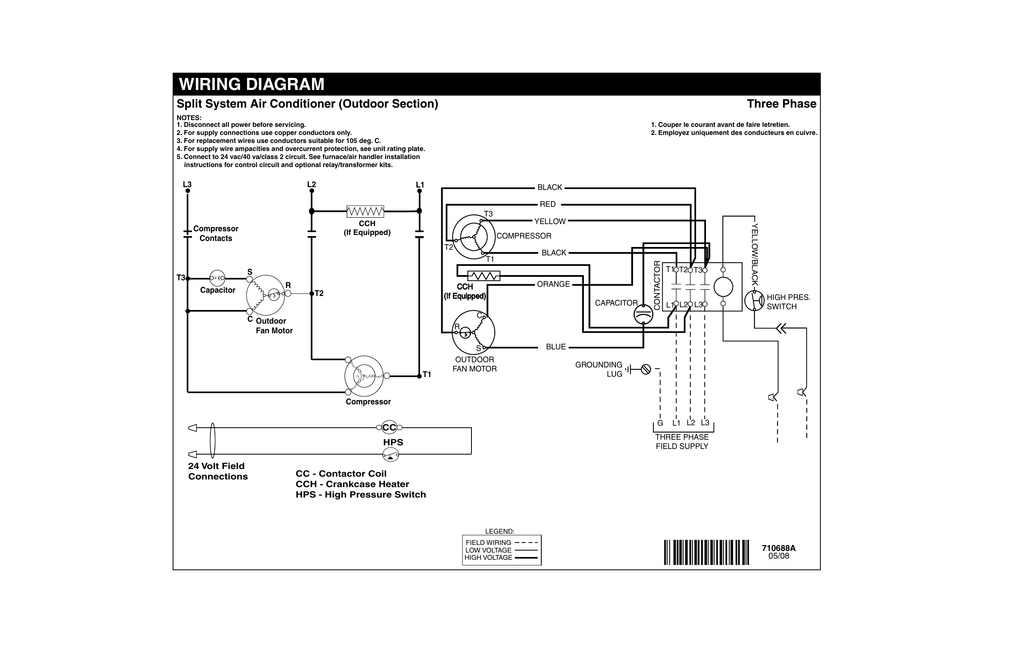 WIRING DIAGRAM Split System Air Conditioner (Outdoor