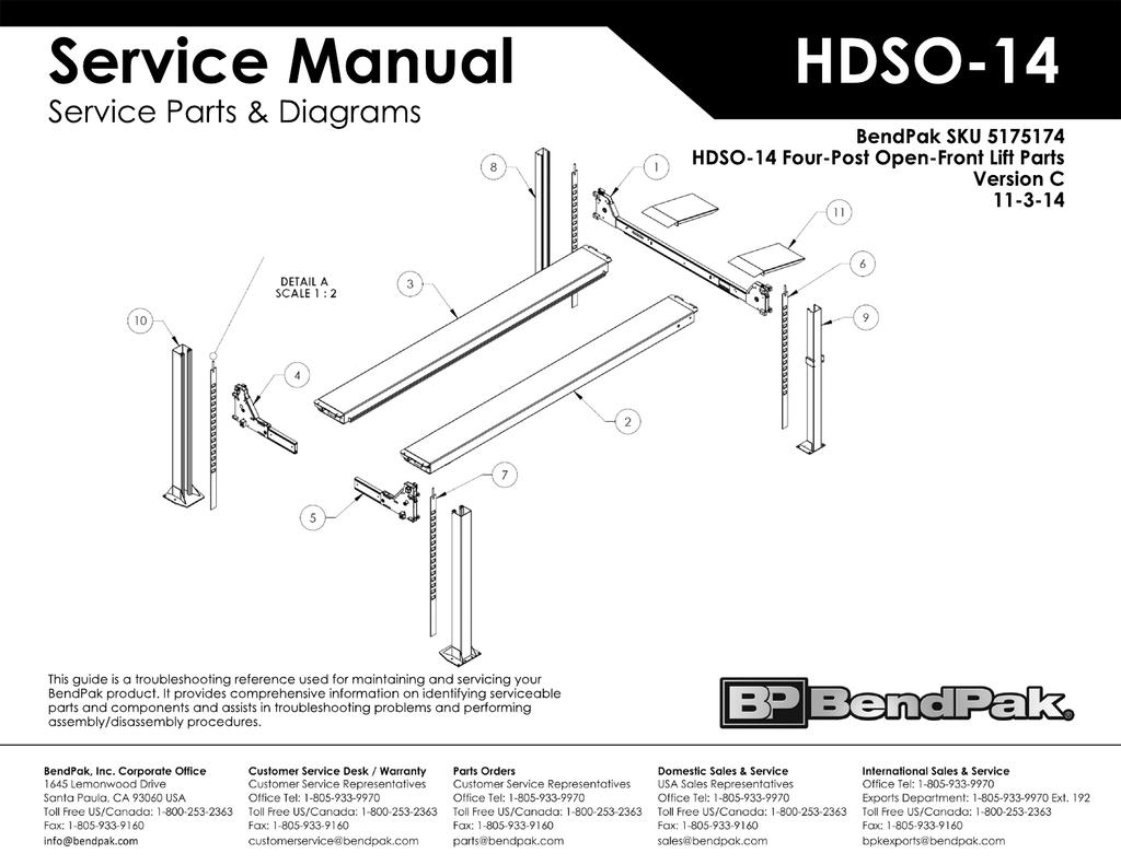 BendPak-5175174-HDSO-14-Four-Post-Open-Front-Lift-Parts