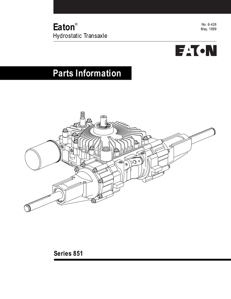 Eaton Parts Information Series 851 Hydrostatic Transaxle