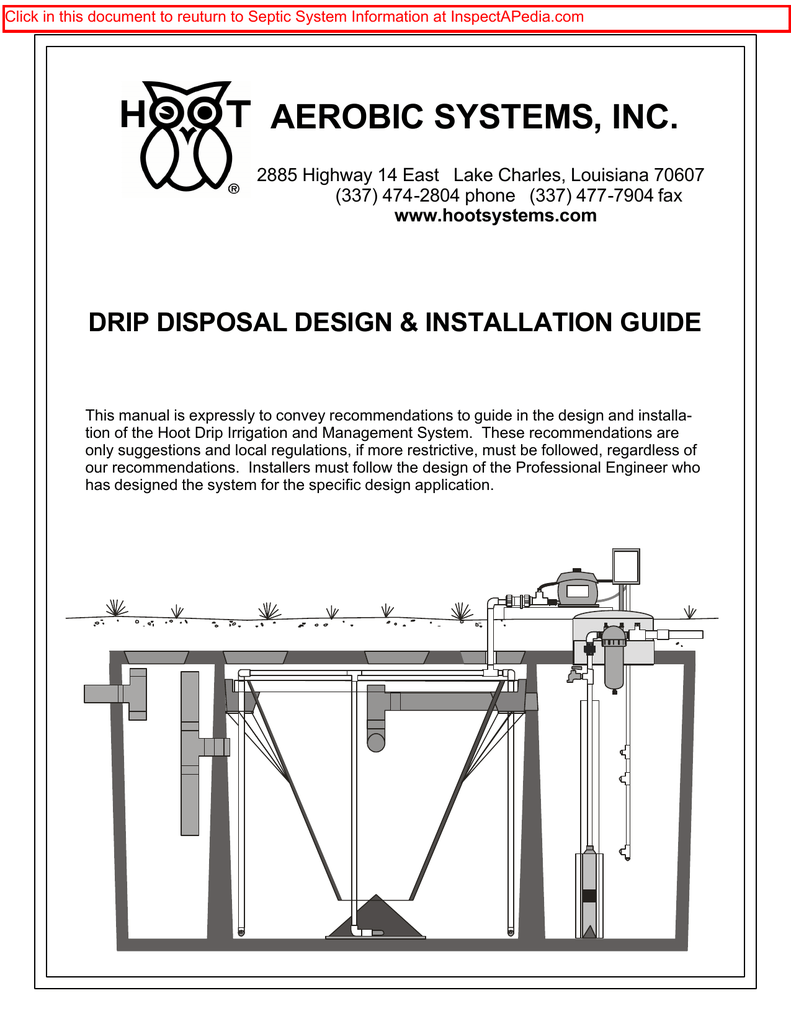 medium resolution of hoot aerobic systems drip disposal design installation guidehoot aerobic systems drip disposal design installation guide