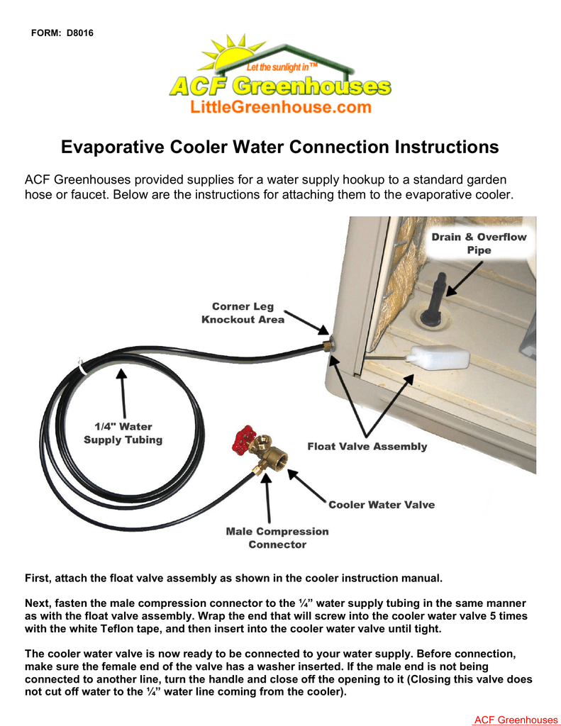 hight resolution of air cooler instructions air cooler instructions form d8016 evaporative cooler water connection