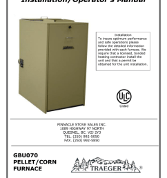 gbu 070 traeger pellet or corn furnace owner s manual [ 791 x 1024 Pixel ]
