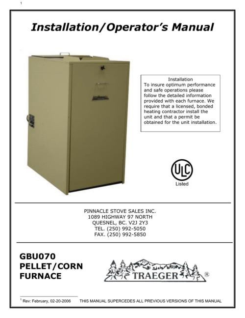 small resolution of gbu 070 traeger pellet or corn furnace owner s manual
