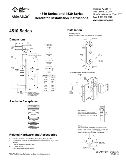 small resolution of 4510 4530 series deadlatch installation instructions