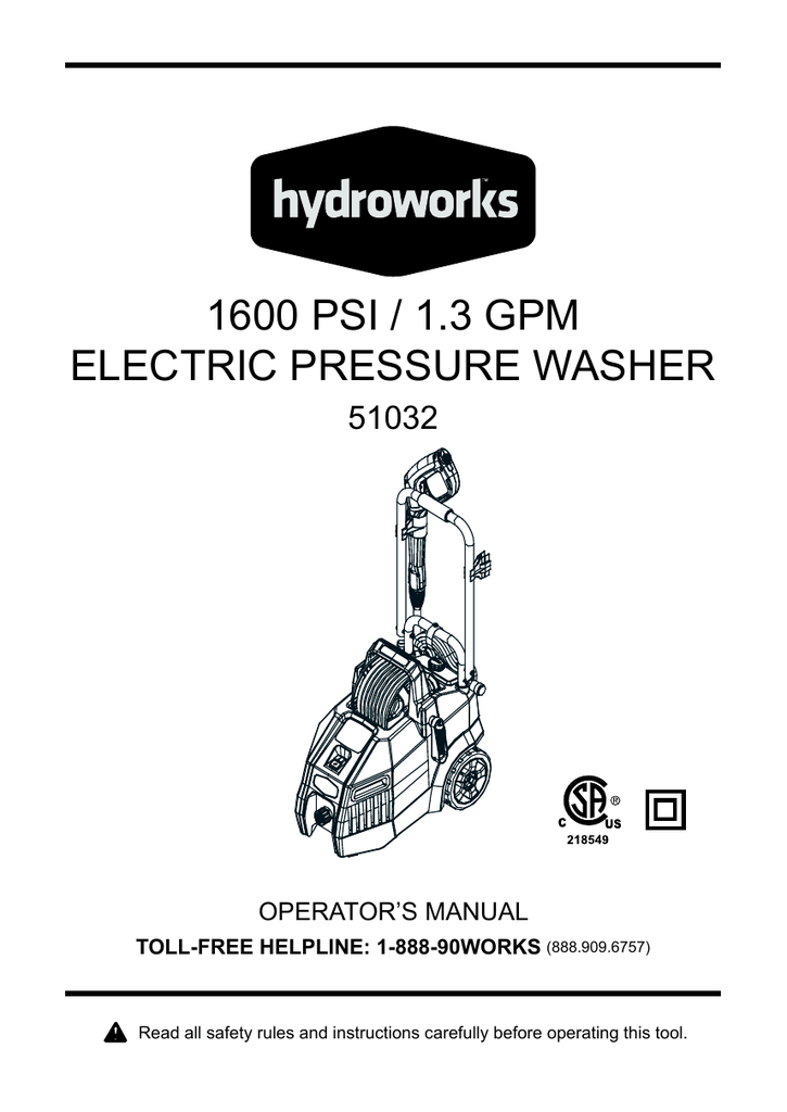 GreenWorks 51012 Electric Pressure Washer replacement