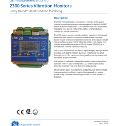 bently nevada 2300 series vibration monitor datasheet [ 791 x 1024 Pixel ]