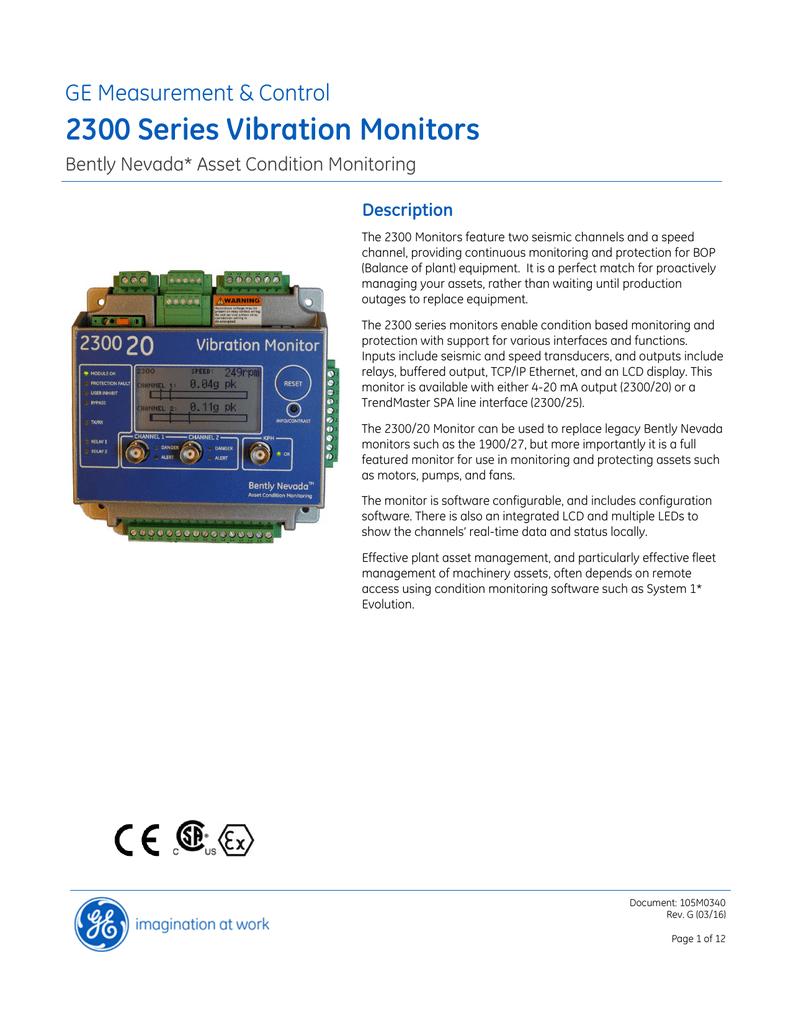 hight resolution of bently nevada 2300 series vibration monitor datasheet