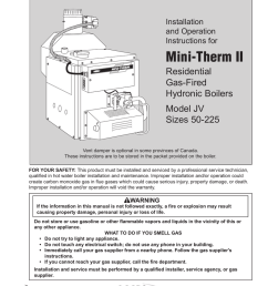installation and operation instructions document 1025w installation and operation instructions for mini therm ii residential gas fired hydronic boilers  [ 791 x 1024 Pixel ]