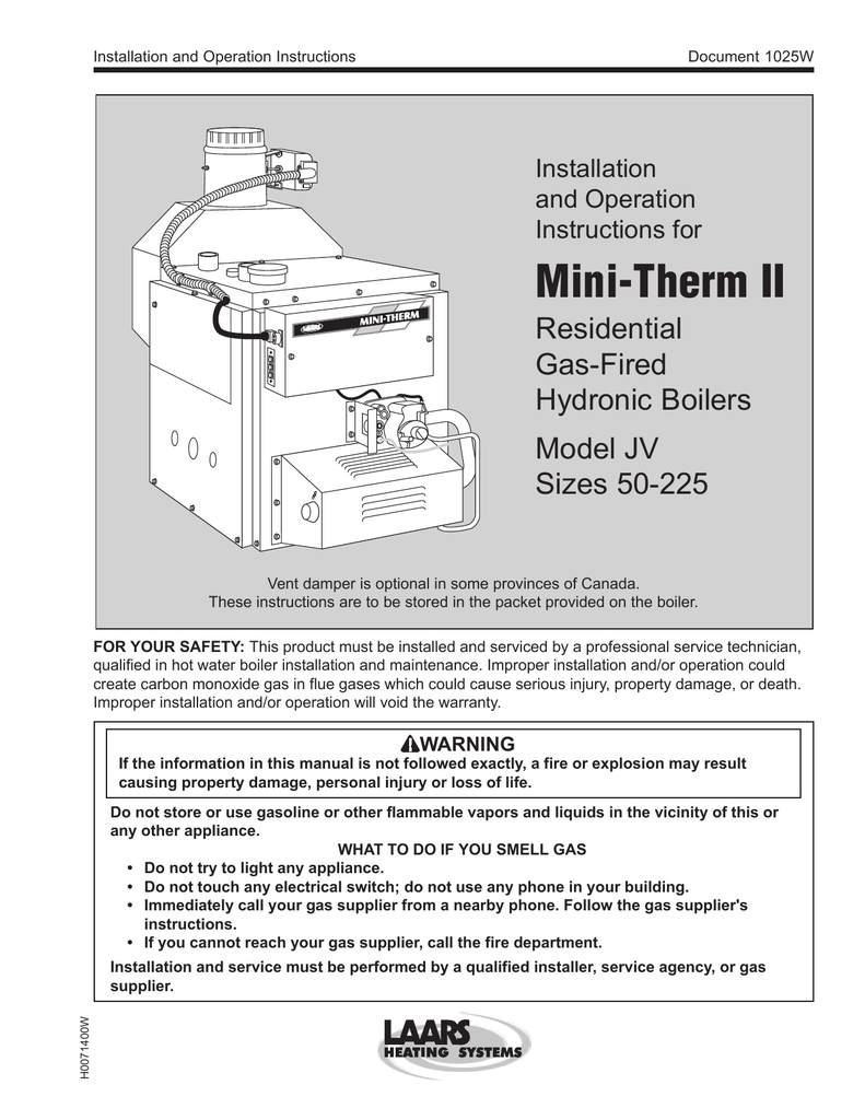 hight resolution of installation and operation instructions document 1025w installation and operation instructions for mini therm ii residential gas fired hydronic boilers