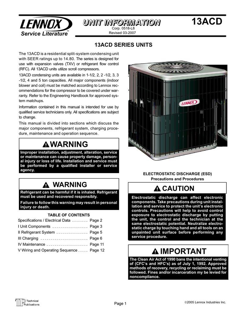 Lennox 13acd Dual Capacitor Manual Guide