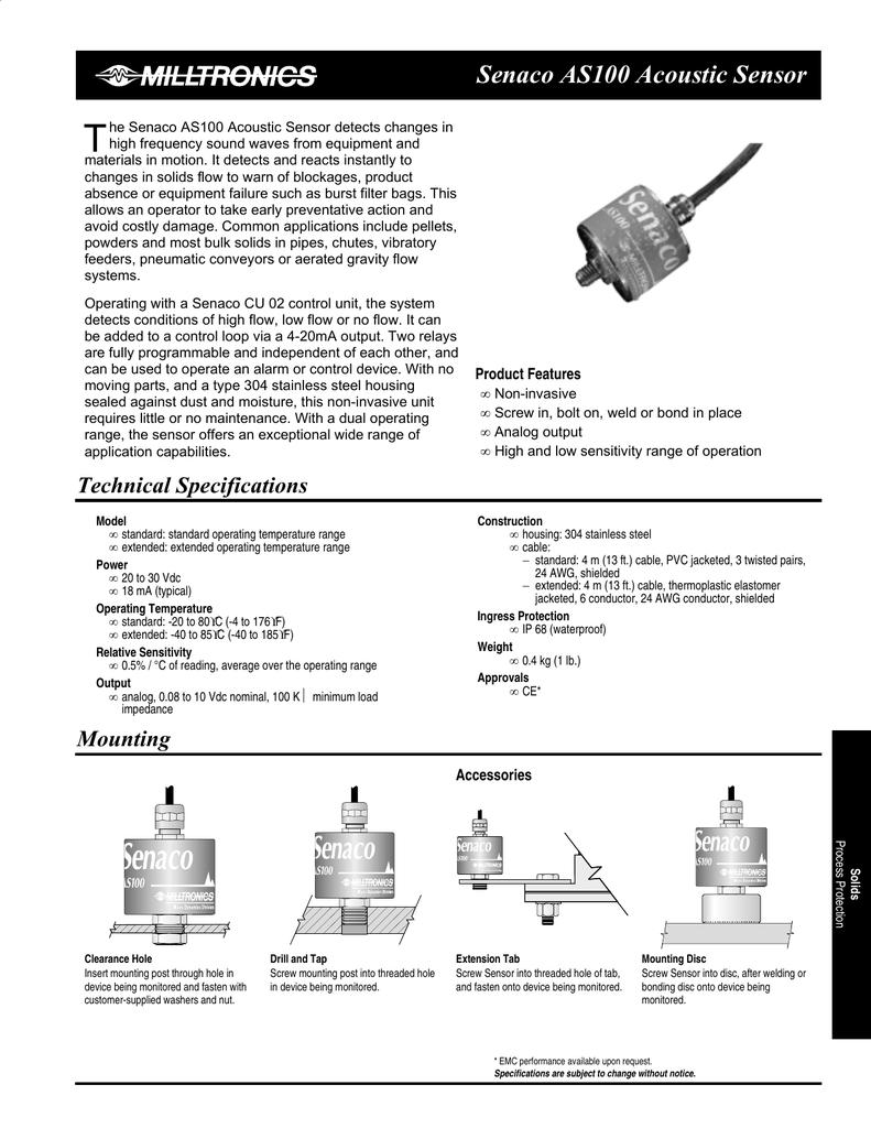 Siemens Milltronics Senaco AS100 Acoustic Sensor