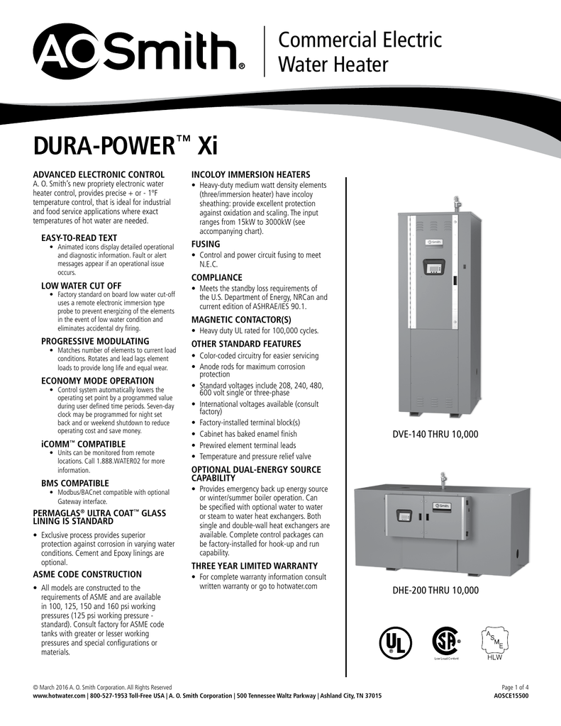 medium resolution of dura power xi dve dhe spec sheet aosce15500