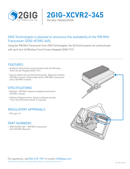 small resolution of using the 900 mhz transceiver from 2gig technologies the go control panel can communicate with