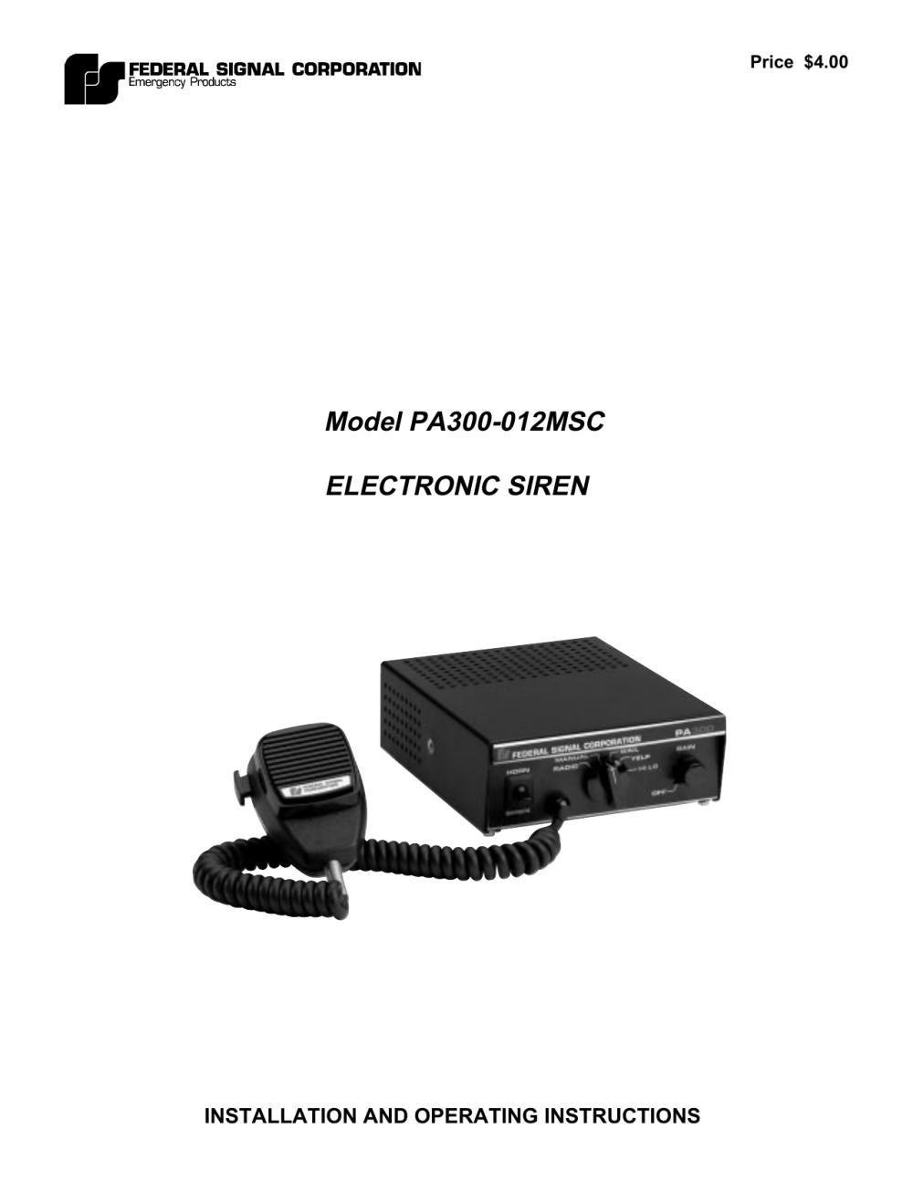 medium resolution of model pa300 012msc electronic siren