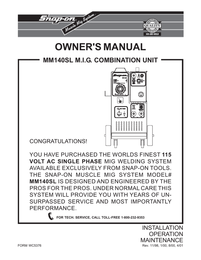 medium resolution of snap on mm 140 sl owners manual