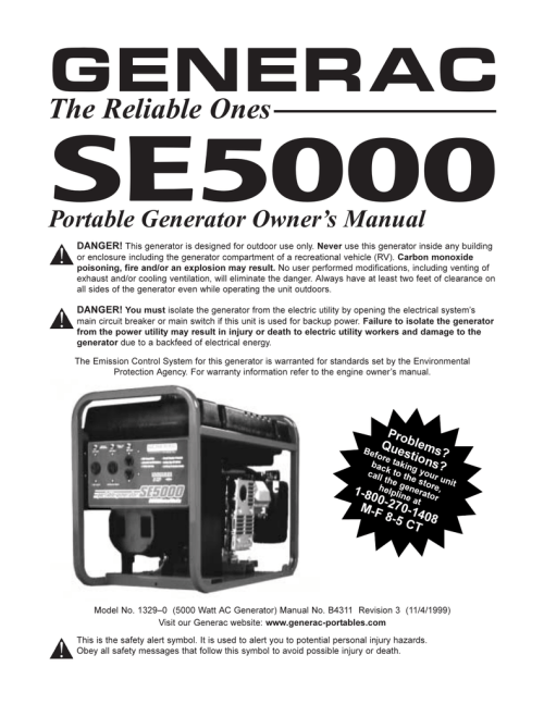 Generac Generator Specification - generac 6500xl portable
