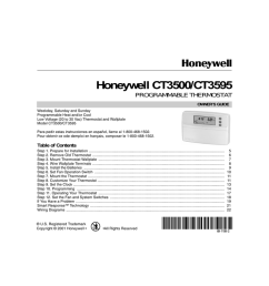honeywell ct3500 ct3595 programmable thermostat owner s guide weekday saturday and sunday programmable heat and or cool low voltage 20 to 30 vac  [ 1024 x 791 Pixel ]