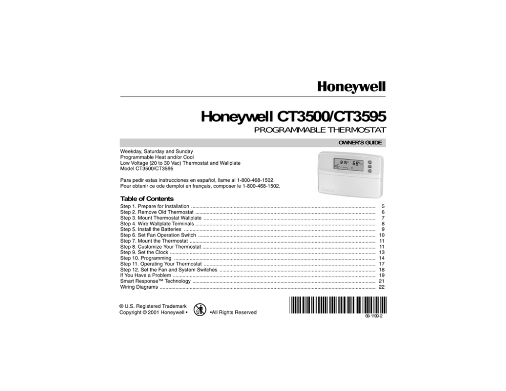 medium resolution of honeywell ct3500 ct3595 programmable thermostat owner s guide weekday saturday and sunday programmable heat and or cool low voltage 20 to 30 vac