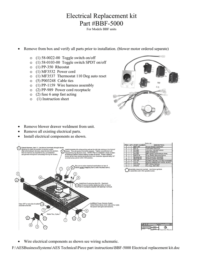 medium resolution of bbf 5000 electrical replacement kit