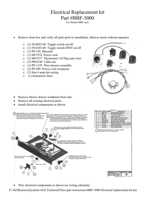 small resolution of bbf 5000 electrical replacement kit