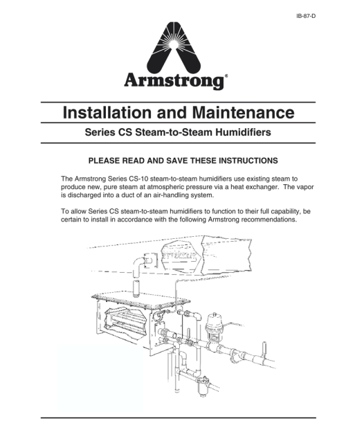 small resolution of armstrong cs 15 humidifier owners manual