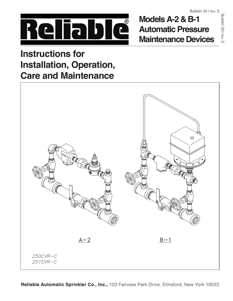 Instructions for Installation, Operation, Care and