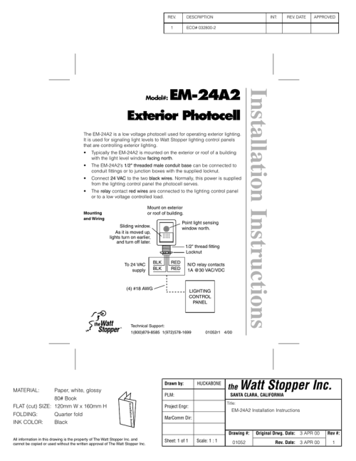 small resolution of installation instructions em 24a2 exterior photocell