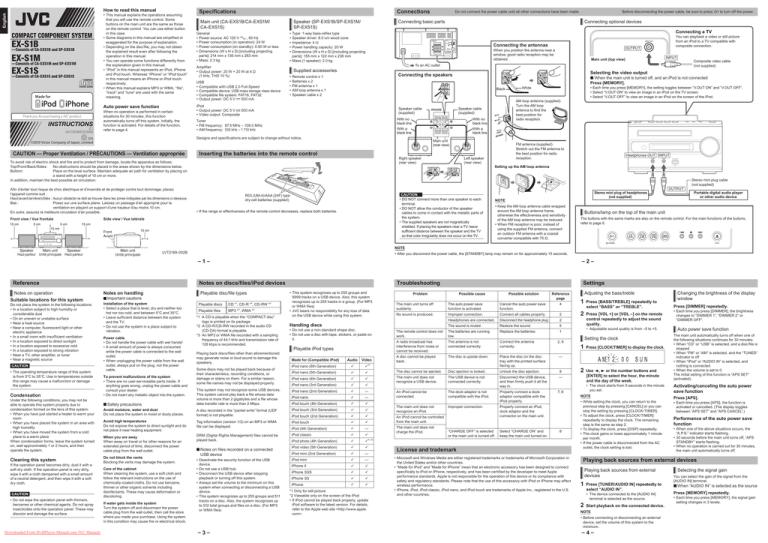JVC EX-S1M User Guide Manual Operating Instruction Pdf