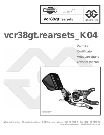 Montageanleitung Fußrastenanlage VCR38GT Kawasaki ZX-6R Bj