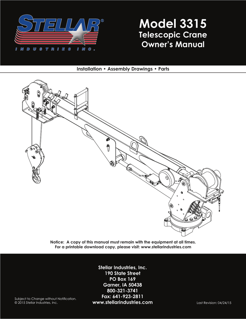 medium resolution of model 3315 telescopic crane owner s manual installation assembly drawings parts