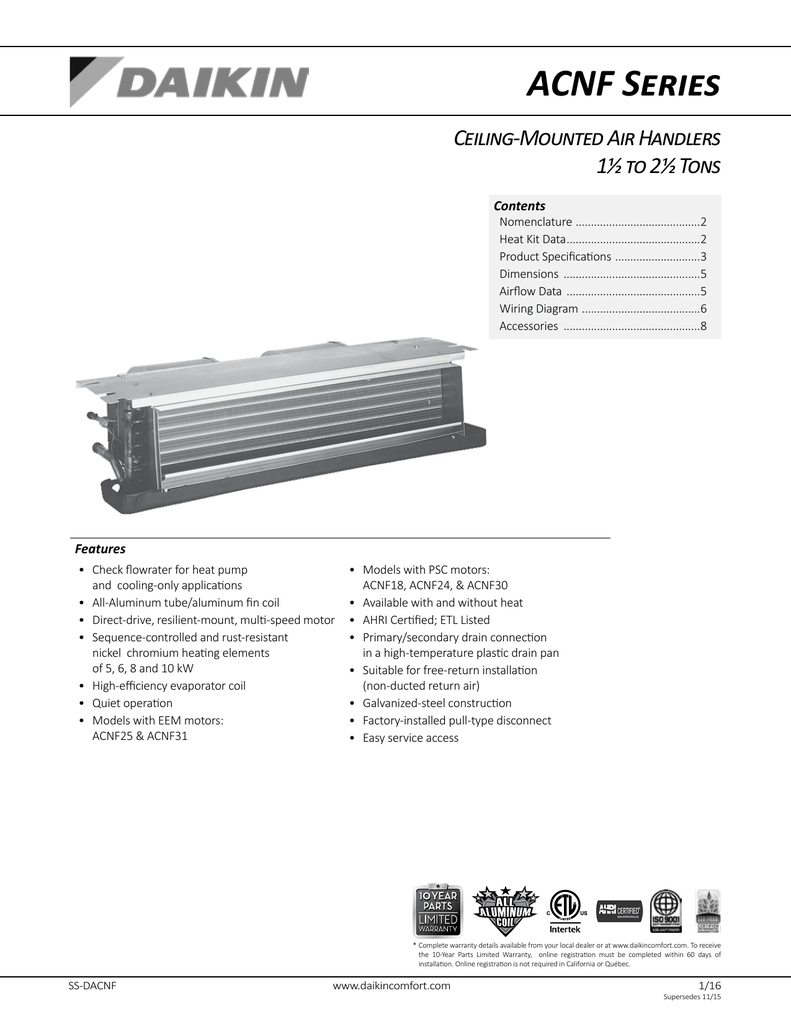 hight resolution of acnf series ceiling mounted air handlers 1 to 2 tons contents